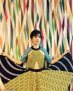 Luxe celeb style   Lily Collins in vibrant print cutout dress   The Luxe Lookbook