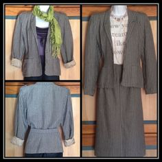 Vintage 1980s Pinstriped Skirt and Jacket Endless possibilities! Smart suit you can wear to work, or use the jacket with a pair of skinny jeans and maybe just a bralette on a sexy night out. Jacket has shoulder pads for that classic 80s look. Pencil skirt has hidden button closure in front. Skirt and jacket are both fully lined. Skirt length is 30 inches, waist is 26 inches. 68% wool, 13% polyamide, 12% polyester, 7% polyacryl. Size is a German 38 which is about an 8. Chiwitt Other