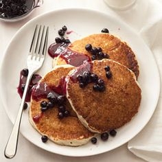 Cottage Cheese Pancakes with Blueberry Compote #myplate #protein #grains #dairy #fruit