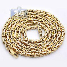 19a3f9d2e7f30a Mens Byzantine Diamond Cut Design Link Chain Necklace 3.5 mm Width 14K  Yellow Gold Mens Silver
