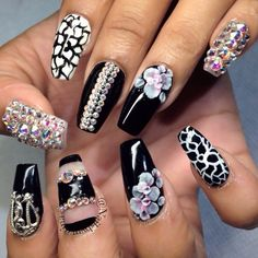 Black White and bling nails