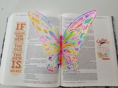 Bible journaling. Butterfly. 2 Corinthians 5:17. Embossing on vellum with watercolor brush pens
