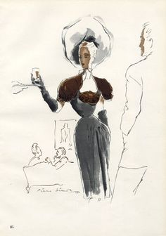 Robert Piguet couture | illustration by Pierre Simon | 1946