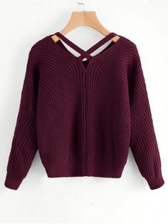 V Neck Criss Cross Pullover Sweater - DARK RED ONE SIZE