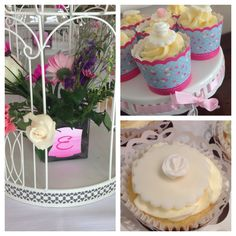 Garden theme -bridal shower -flowers and cupcakes -cake pops and candy -beautiful center pieces