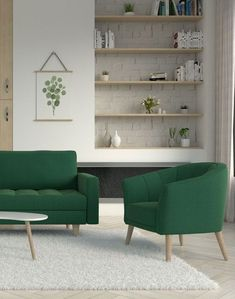 Green furniture with white rug. Living Room Decor Tips, Living Room Green, Yellow Rug, White Rug, Pink Rug, Green Furniture, Home Decor Furniture, Living Room Color Combination, Living Room Stands