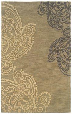 OW Sphinx Lotus Hand Crafted Modern Beige / Ivory Rug (85402)