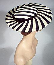 Black and white striped straw by Lilly Dache. Fancy Hats, Cool Hats, Vintage Outfits, Vintage Fashion, Vintage Hats, Caroline Reboux, Love Hat, Headgear, Hair Pins