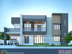 Front elevation of sober colored 4 bedroom house Two Story House Design, Village House Design, Kerala House Design, House Front Design, Small House Design, Double Story House, Flat Roof House Designs, Modern Exterior House Designs, Modern House Facades