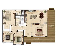 Cortland Floor Plan; I like this one because of the bedrooms being together and the wraparound porch on one side.