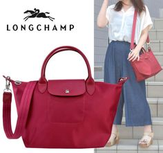 6934564373 Auth LONGCHAMP Le Pliage NEO Small Tote Bag Red RUBY w/ crossbody NEW | eBay