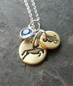 Hand Stamped Horse Necklace-Hunter Jumper Horse-Personalized Charm Necklace-Personalized Horse Necklace-Monogram Necklace