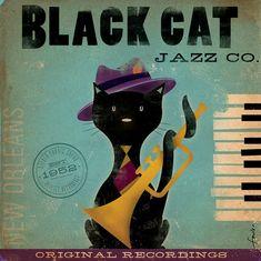 Black Cat Jazz company artwork original graphic by geministudio