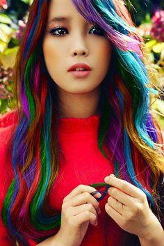 Cute rainbow hair. with really cute eyes!!!