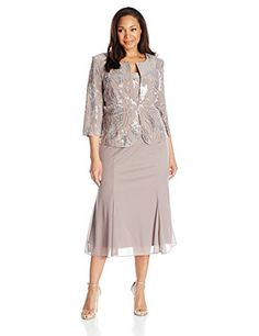 Alex Evenings Womens PlusSize Sequin Mock Jacket with TLength Dress PewterFrost 22W *** Continue to the product at the image link.