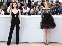 PHOTO: Rachel Weisz attends the Lobster photocall and Emma Stone attends the Irrational Man photocall during the 68th annual Cannes Film Festival on May 15, 2015 in Cannes, France.