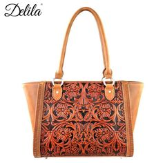 Montana West LEA-6017 Delila 100% Genuine Leather Tooled Handbag