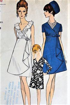 a91537edd86cb0 1960s MOD Evening Party Dress Pattern VOGUE 7434 Eye Catching Low Surplice  Neckline,High Waist Empire Draped Overskirt Perfect Cocktail Evening Party  Dress ...