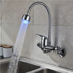 Zeige Details für Chrom Oberfläche Einhand-Farbwechsel LED Wandmontage Küchenarmatur