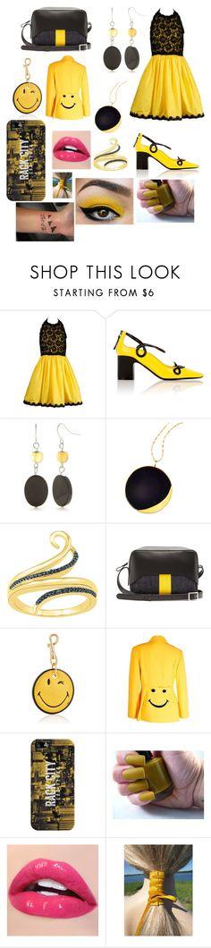 """Black and yellow!"" by shirowland ❤ liked on Polyvore featuring Bill Blass, Fabrizio Viti, Kim Rogers, Lana, TIBI, Anya Hindmarch, Moschino and Casetify"