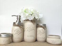 Mason Jar Bathroom Set, Rustic Farmhouse Style Decor, Country Cottage, 5 pc Mason Jar Set, Home Decor, New Home, Wedding Gift, Bridal Gift