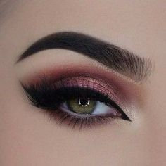 31 Pretty Eye Makeup Looks for Green Eyes. ----maroon in crease. cranberry shimmer lid. ebony brow