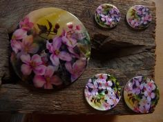 Perlmutt Knopf, Blumenmuster, Rund, 2-Loch-Knopf