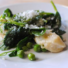 Ricotta Gnocchi with English Peas, Spring Onions, and Pea Tendrils
