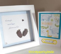 """New Baby present, Baby Shower, """"The littlest feet make the biggest footprints in our hearts"""" Check out this item in my Etsy shop https://www.etsy.com/ie/listing/546981367/new-baby-newborn-giftpresent-pebble-art"""