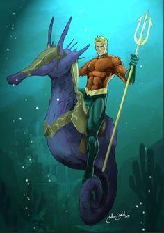 Aquaman & Storm the Sea Horse Dc Comic Books, Comic Book Heroes, Comic Art, Michael Turner, Justice League, Aquaman Dc Comics, Male Mermaid, Superhero Villains, Dc Comics Characters