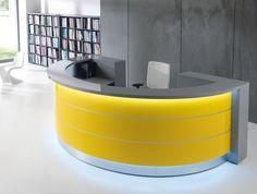 Valde curved circular reception desk in yellow