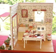 Fate's smile dollhouse miniature kitchen in red & white
