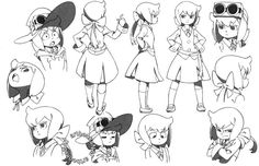 (Source: artbooksNAT)[3/8]  Little Witch Academia (リトル ウィッチ アカデミア)  Little witches for Halloween! The November issue of Animage Magazine showcased Yoh Yoshinari's character designs for the new Enchanted Parade stars Amanda O'Neill, Constanze Braunschbank Albrechtsberger, and Yasminka Antonenko along with premiere veterans like Shiny Chariot, Diana Cavendish, Hannah, and Barbara.