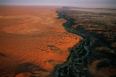 Kuiseb River canyon which forms the northern limit of the Namib sand sea