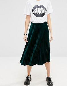 ASOS | ASOS Pleated Midi Skirt in Velvet