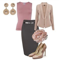 Work outfit.  Love the rose color.