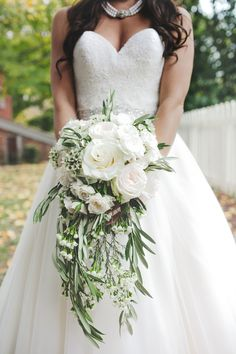wedding dress, waterfall bouquet, white roses, sweetheart dress