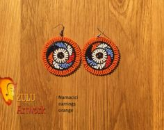 Zulu bead work handcrafted by Zulu women South Africa by ZULUArtwork Beaded Earrings, Crochet Earrings, Drop Earrings, Zulu Women, South Africa, Orange, Beads, Creative, Artwork