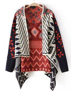 Orange Long Sleeve Tribal Pattern Asymmetrical Cardigan pictures