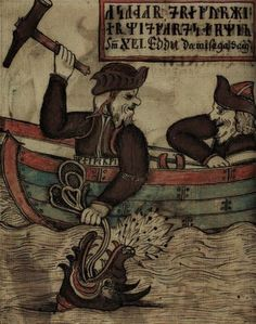 Thor and the Midgard serpent. Icelandic Edda manuscript.