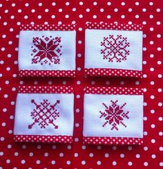 Polka dot napkins rings Cross stitch