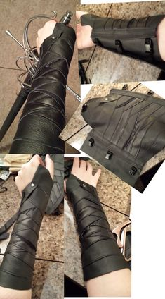 Leather bracers 3.0: Gamora by CaptainMorganTeague Guardians of the Galaxy leather rubber gauntlets gloves cosplay costume LARP LRP equipment gear magic item | Create your own roleplaying game material w/ RPG Bard: www.rpgbard.com | Writing inspiration for Dungeons and Dragons DND D&D Pathfinder PFRPG Warhammer 40k Star Wars Shadowrun Call of Cthulhu Lord of the Rings LoTR + d20 fantasy science fiction scifi horror design | Not Trusty Sword art: click artwork for source