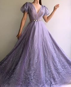 Purple TMD Gown -Dreamy Purple TMD Gown - Details -Dreamy purple color -Tulle with design fabric -Handmade embroidery crystal -Ball-gown with waist definition and long sleeves -Party and Evening night Sexy Tulle High Neck Front Slit Prom Dress Elegant Dresses For Women, Pretty Dresses, Sexy Dresses, Sparkly Dresses, Formal Dresses, Wedding Dresses, Formal Prom, Purple Wedding Gown, Tight Dresses