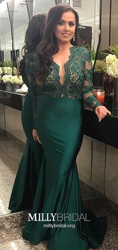 Long Prom Dresses With Sleeves, Mermaid Formal Evening Dresses Dark Green, Sexy Pageant Dresses V-neck, Elegant Wedding Party Dresses Tulle #MillyBridal #darkgreendress #longsleevedresses #mermaidpromdress
