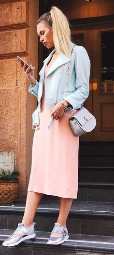 cute fall outfit / blush jacket + bag + pink dress + sneakers