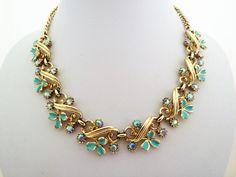 Aurora Borealis and Enamel Flower Gold Tone by jewelbirdvintage