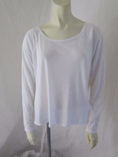 Fabletics Supima Cotton Modal White Solid Draped Long Sleeve Casual Top M #Fabletics #ShirtsTops
