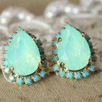 Mint Crystal big teardrop stud earring - 14k plated gold post earrings real mint and turquoise swarovski rhinestones .