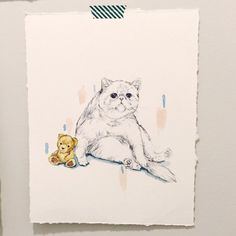 Sitting Fat Cat with Teddy Bear  Persian Cat  Cat Lady by LimbTrim Cat Art