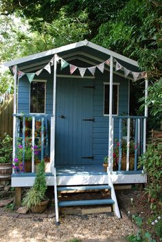Summer House Blues! Pretty painted garden shed.
